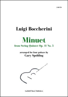 cover of Minuet from String Quintet Op. 11 No. 5 by Boccherini arranged for four guitars by Gary Spolding