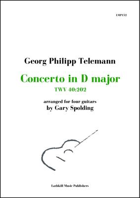 cover of Concerto in D major, TWV 40:202 by Georg Philipp Telemann arranged for guitar ensemble by Gary Spolding